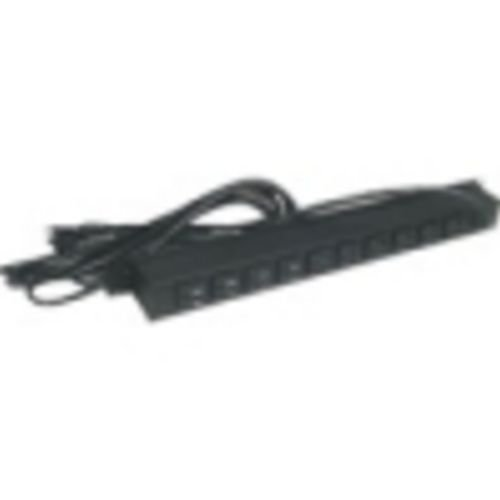 "Hubbell MCCPSS19 Black 15A 125V Surge Protected Power Strip With 19"" Rack Mount and 10 Outlets"
