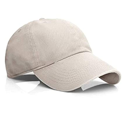 ae1fce2113c Image Unavailable. Image not available for. Color  Beige Polo Style  Baseball Cap Ball Dad Hat Adjustable Plain Solid Washed Cotton Mens