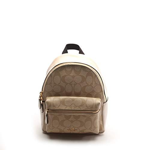 Coach Women's Pebbled Leather Mini Charlie Backpack No Size (Im/Light Khaki/Chalk)