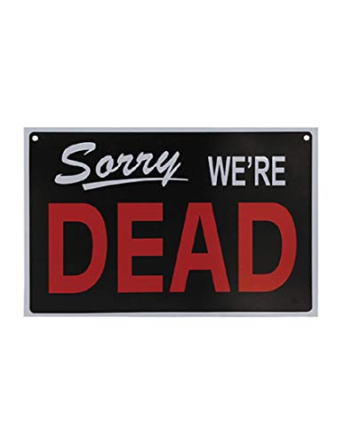 Morris We're Dead Open for Victims Reversible PVC Sign Halloween Decoration -