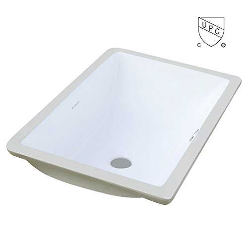 BOHARERS BC2002C Undermount Rectangular Lavatory Vitreous China Sink, White 20-Inch