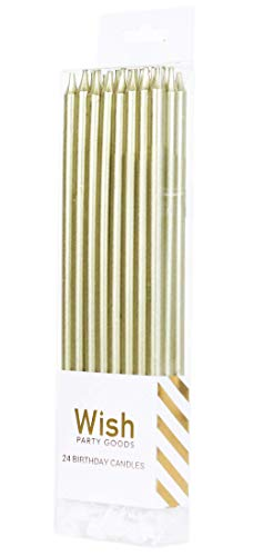 24 Count Extra Long Thin Candles with Holders for Parties, Birthday, Cakes, Cupcakes - Gold]()