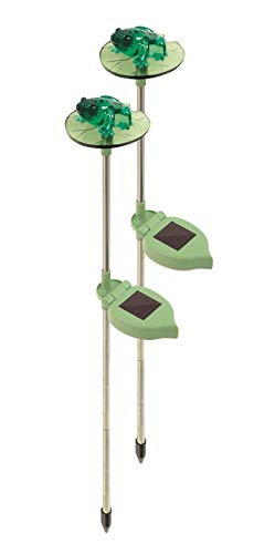 Borboom Set of 2 Solar Powered Garden Light Frog ON Lilly PAD Garden Lights Soft Glow ()