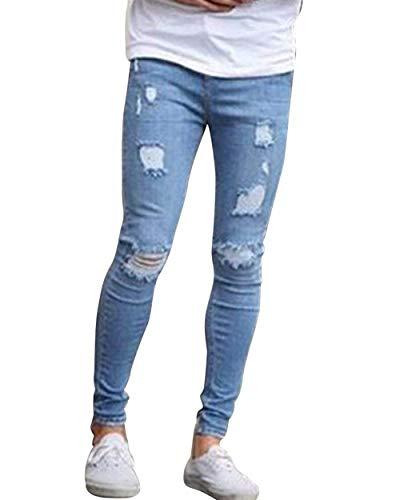 Fit A Jeans Base Uomo Hellblau Eleganti Da Matita Di Ragazzo Regolari Denim Slim In Strappati Stretch Pantaloni XqRWPR
