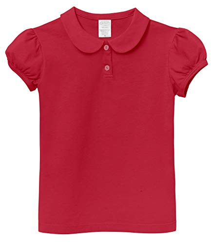 (City Threads Little Girls' Peter Pan Collar Cotton Polo Puff Tee Blouse Button Top Tshirt for School and Play SPD, Uniform Red, 8)