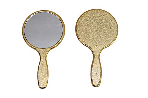 Garden Of Arts Golden Handheld Salon Barbers Hairdressers Mirror with Large Grip Handle from Garden Of Arts