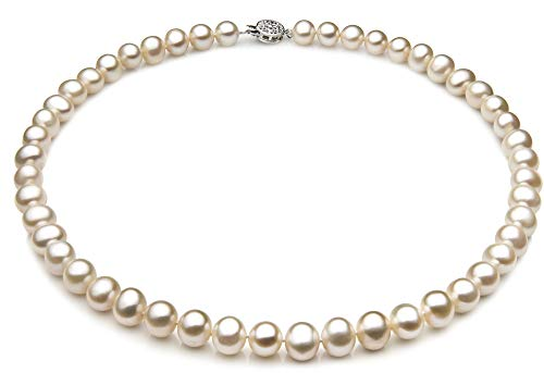 Single White 7-8mm A Quality Freshwater 925 Sterling Silver Cultured Pearl Necklace For Women-18 in Princess - 8mm Fw Pearl Necklace