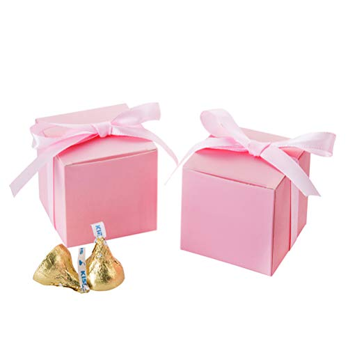 (AWELL Pink Gift Candy Box Bulk 2x2x2 inches with Pink Ribbon Party Favor Box,Pack of 50)