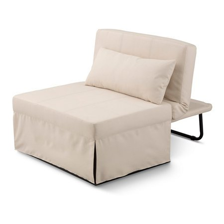 5 in 1 Ottoman Bed - Ottoman, Bed, Chair, Chaise, and Recliner all in 1 - Great for Dorms! (Cream)