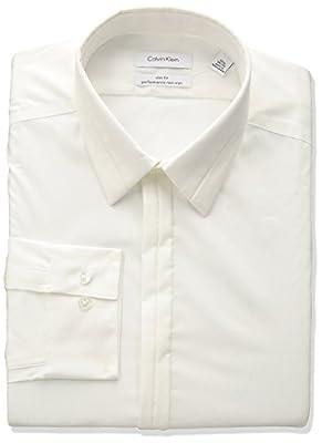 Calvin Klein Men's Non Iron Stretch Slim Fit Textured Solid Dress Shirt