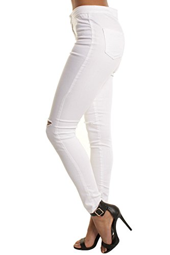 Alta Mujeres Cintura Pantalones White Vaqueros Tobillo Las Casuales Roto Pantalones Skinny De FxtWPnEw7