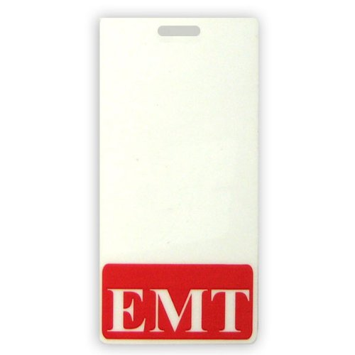 Vertical EMT Badge Buddy with Red Border by Specialist ID, Sold Individually