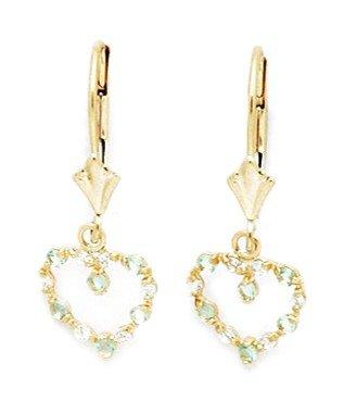 Or jaune 14 carats Pierre porte-bonheur mars et zircone cubique Lt-Boucles d'oreilles pendantes en forme de cœur-Dimensions :  25 mm x 10 cm