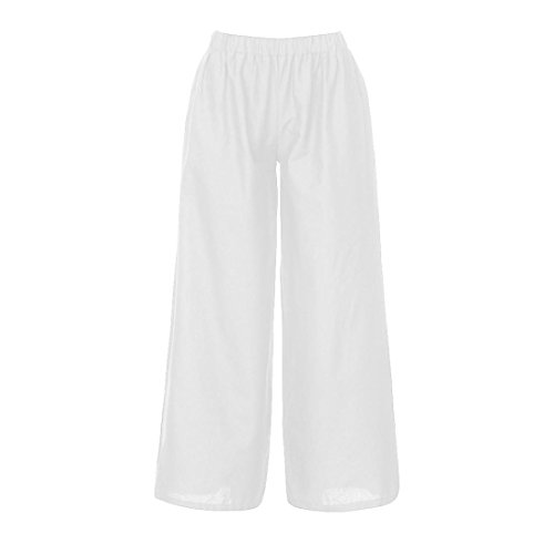 Sameno Women Linen Casual Loose Wide Leg Summer Elastic Waist Plain Harem Pants Baggy Trouser (XXL, White)