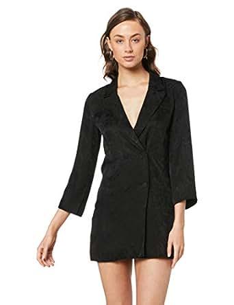 THIRD FORM Women's Paisley Soft Blazer Dress, Black, 10