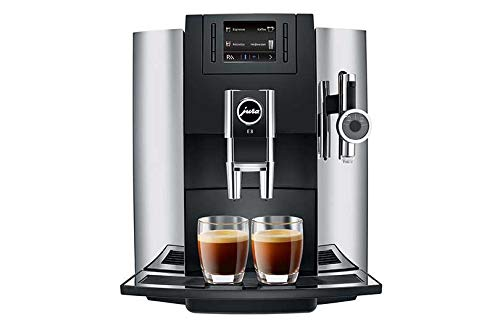 Automatic Espresso Chrome Makers Coffee (Jura 15097 Automatic Coffee Machine E8, Chrome Includes Jura Cleaning Tablets, Frothing Pitcher and Set of Two Espresso Cups and Saucers     )