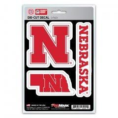 NCAA Nebraska Cornhuskers Team Decal, 3-Pack