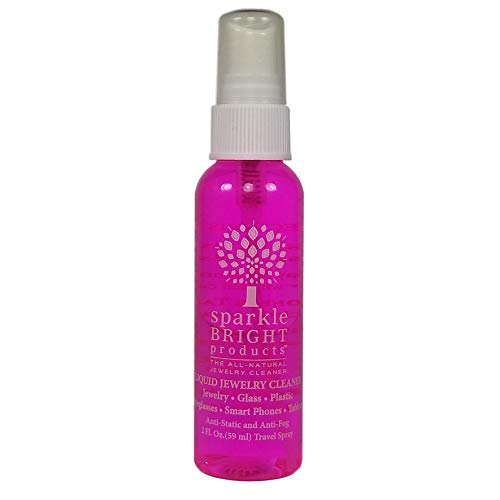 Sparkle Bright All-Natural Jewelry Cleaner Solution - 2oz. Travel Spray | Jewelry Cleaning for Diamonds, Fine, Costume, Designer, Fashion Jewelry