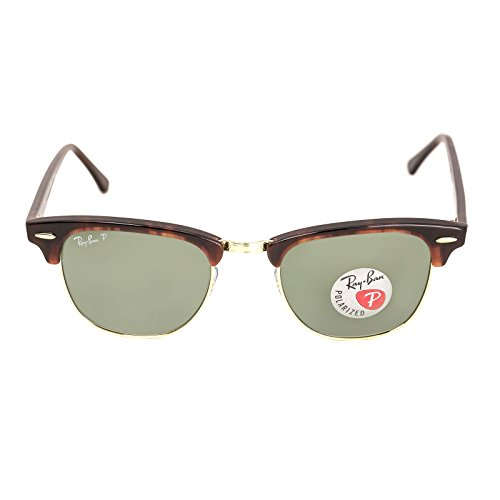 Ray-Ban Authentic Clubmaster RB 3016 990/58 49mm Havana / Green Polarized in the - Ban Ray 49mm 3016 Clubmaster