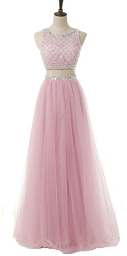 Dresses Prom Pink BessDress Long Beaded Ball Piece Bodice BD066 Two Sequined 2017 Gowns SwwOXRq