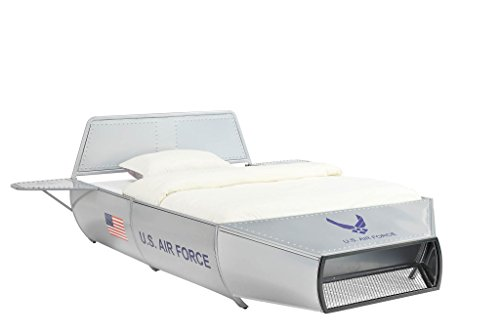 "Major-Q 9036105f 36"" H U.S. Air Force Space Shuttle Theme Full Size Youth Bed in Silver"