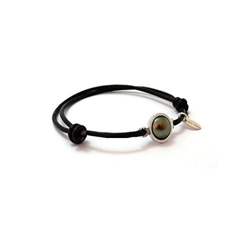 Bracelet cuir demi-perle de Tahiti