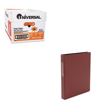 KITUNV21200UNV31414 - Value Kit - Universal Suede Finish Vinyl Round Ring Binder With Label Holder (UNV31414) and Universal Copy Paper (UNV21200)