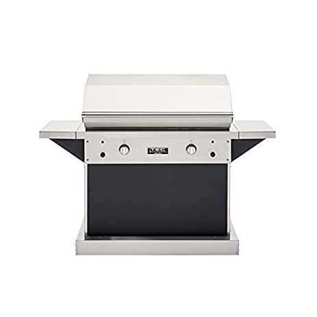 Great TEC Patio 2 FR Infrared Propane Gas Grill On Black Pedestal With Two Side  Shelves