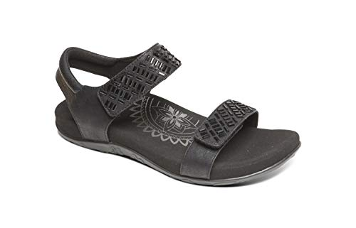 Aetrex Marcy Womens Adjustable Quarter Strap Orthotic Sandals - Black - 40 (US - Shoes Black Aetrex