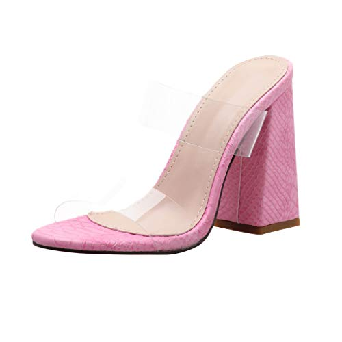 Hot Fashion New Women Wedding Party Sandals Sexy Leopard Print PVC Transparent Coarse Heeled Slippers (Pink, 8.5)