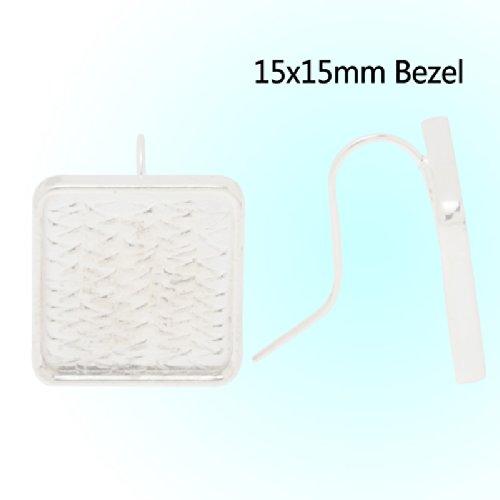 Bezel Square Earrings - 8