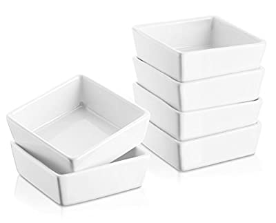 DOWAN 8oz Porcelain Ramekins/Dessert Bowls- Set of 6, White, Stylish Square