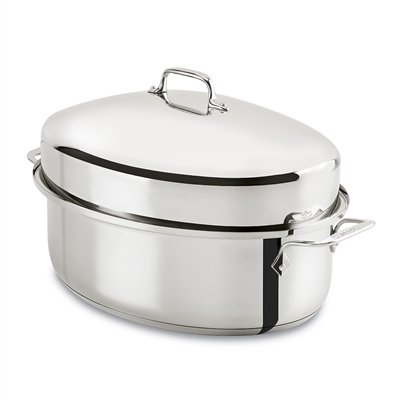 All-Clad E7879664 Stainless Steel Dishwasher Safe Oven Safe Covered Oval Roaster Cookware, 16-Inch, Silver by All-Clad