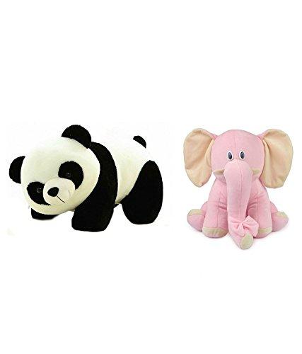 Deals India Panda Soft Toy  26 cm  and Sitting Elephant  25 cm