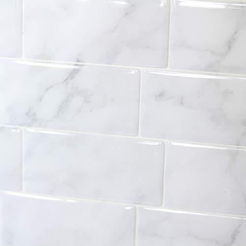 "FARONZE Peel and Stick Tiles Backsplash,Self Adhesive Wall Tiles for Kitchen & Bathroom Calacatta Marble Design 11.25"" x 10"" (4 Sheets Pack)"