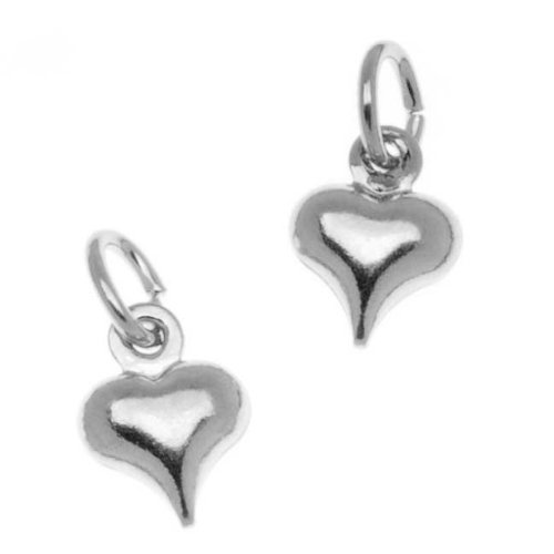 Beadaholique Silver Plated Small Puff Heart Charm with Ring - 8.5x6.5mm - Heart Puff Ring