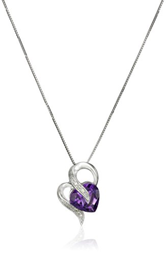 10k White Gold Amethyst and Diamond Accent Heart-Shape Pendant Necklace, 18