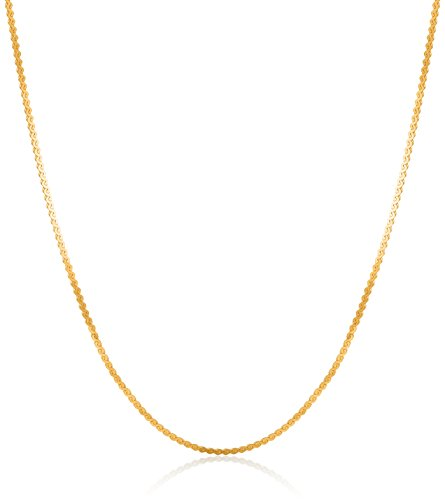 14k Yellow Gold Lightweight Serpentine Chain 0.8mm Chain Necklace, (Yellow Gold Serpentine Chain)