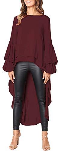 Jyccr Women Casual Long Sleeve High Low Tunic Top Asymmetrical Hem Chiffon Blouse(S-3XL) (Burgundy, ()