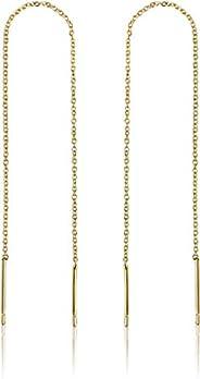 Gold Threader Earrings for Women | 14k Gold Earrings for Women | Gold Dangle Earrings for Women | Dangly Earri