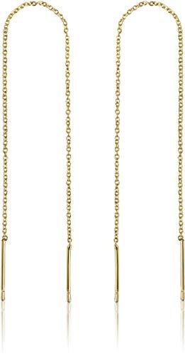Stunning Gold Threader Earrings | 14k Gold Dipped Thread Earrings For Women | Dangling Chain Earrings | Chain Earrings For Women | Long Gold Drop Threader Earrings