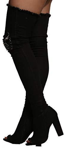 Distressed Chunky Toe 60s Heel Denim High Womens Limelight Thigh Boots Peep Ripped Black Blue qYZSt