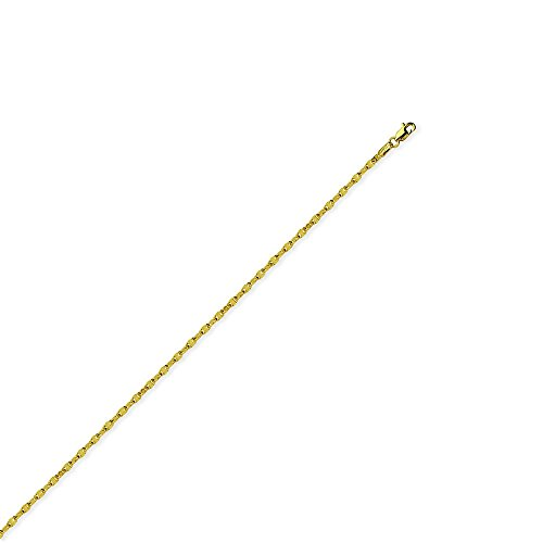 14k Yellow Gold 2.65mm Abr Anchor Chain Ankle Bracelet Lobster Lock Closure - 10 Inch