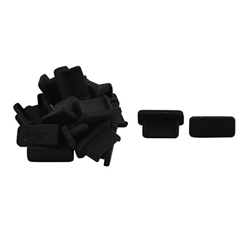 uxcell Phone Rubber Female Port Anti Dust Cover Cap Protector Black 11mm Long 20pcs for USB Type C
