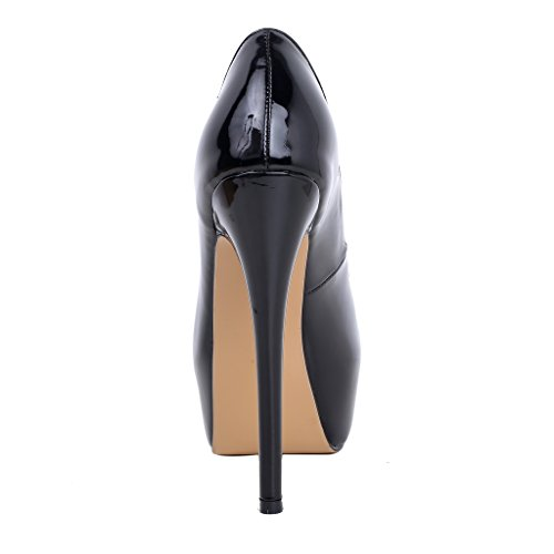 Calaier Womens Chaitle Pekte Tå 15cm Stiletto Slip-on Pumper Sko Svart