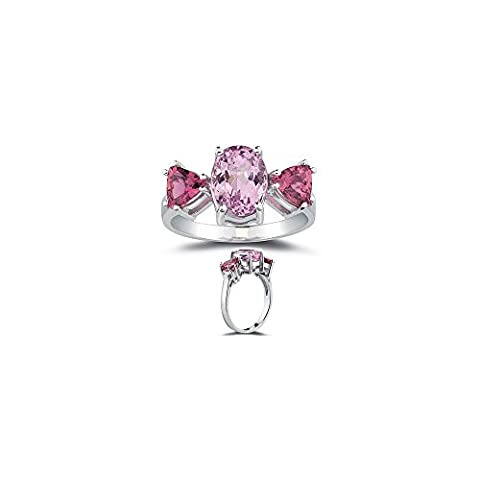 2.50 Cts Kunzite & 1.20 Cts Pink Tourmaline Ring in 10K White Gold-9.0 (Kunzite Rings In White Gold)