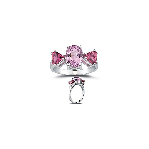 2.50 Cts Kunzite & 1.20 Cts Pink Tourmaline Ring in 10K White (Cts Kunzite Ring)