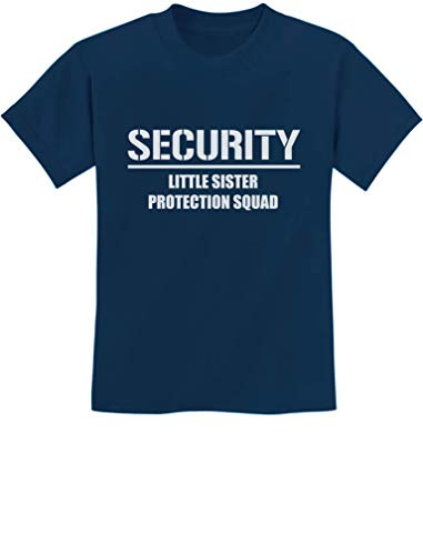 Gift for Big Brother - Security for My Little Sister Kids T-Shirt 2T Navy