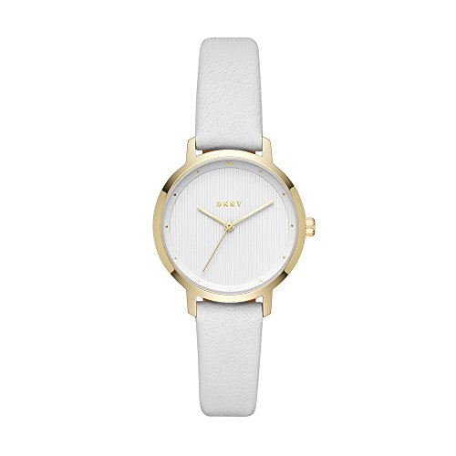 DKNY Women's The The Modernist Stainless Steel Quartz Watch with Leather Strap, White, 14 (Model: NY2677)