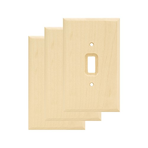 (Franklin Brass W10393V-UN-C Wood Square Single Toggle Switch Wall Plate / Switch Plate / Cover, Unfinished, 3-Pack)
